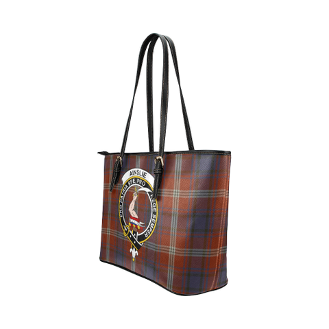 Image of Ainslie Clan Badge Tartan Leather Tote Bag