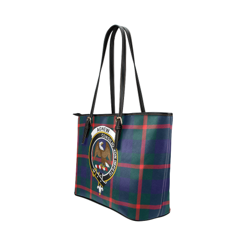 Image of Agnew Clan Badge Tartan Leather Tote Bag