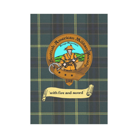 Image of Scottish American Military Society Clan Badge Tartan Garden Flag
