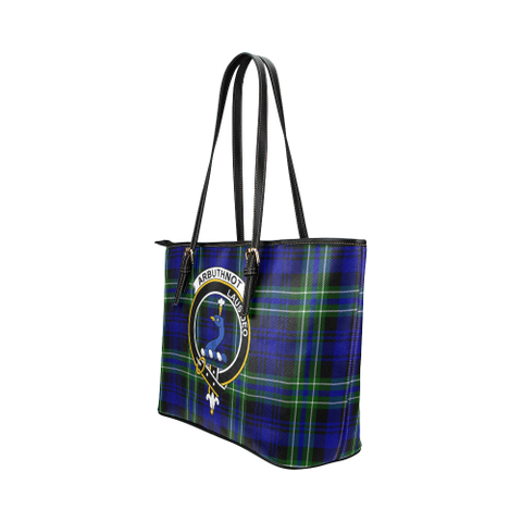 Arbuthnot Clan Badge Tartan Leather Tote Bag