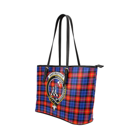 Anstruther Clan Badge Tartan Leather Tote Bag