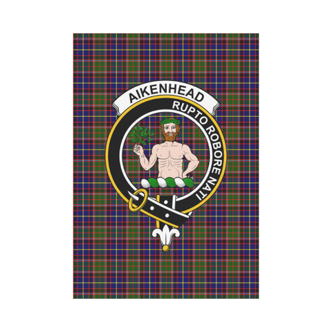Image of Aikenhead Clan Badge Tartan Garden Flag