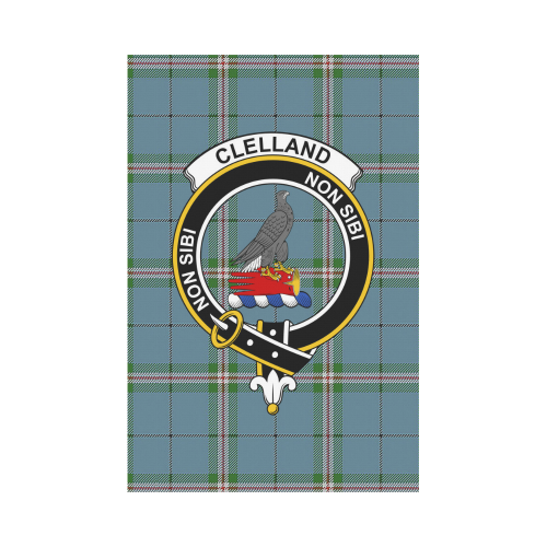 Clelland Clan Badge Tartan Garden Flag