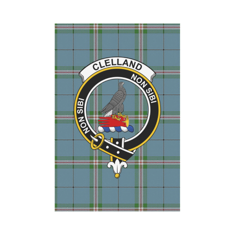 Image of Clelland Clan Badge Tartan Garden Flag
