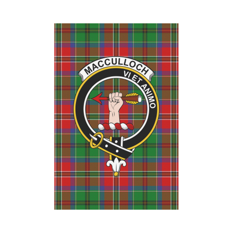 Image of MacCulloch Clan Badge Tartan Garden Flag