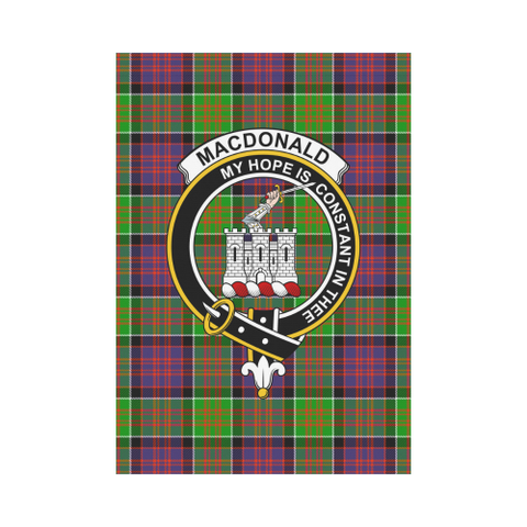 Image of MacDonald of Clanranald Clan Badge Tartan Garden Flag