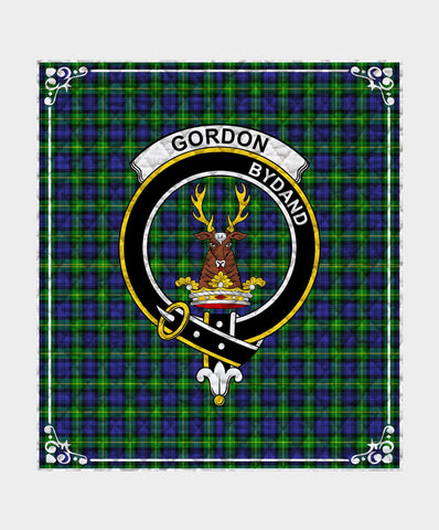 Image of Gordon  Clan Badge Tartan Blanket