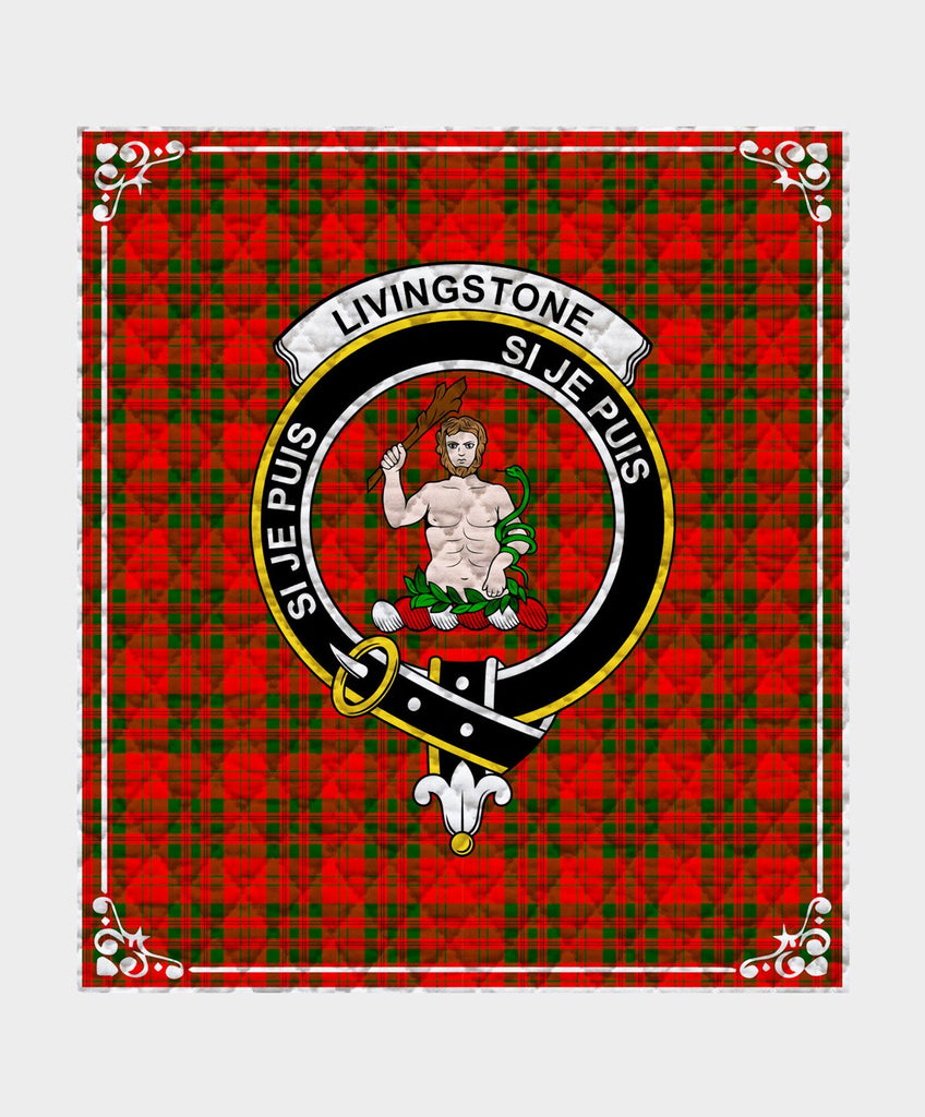Livingstone  Clan Badge Tartan Blanket