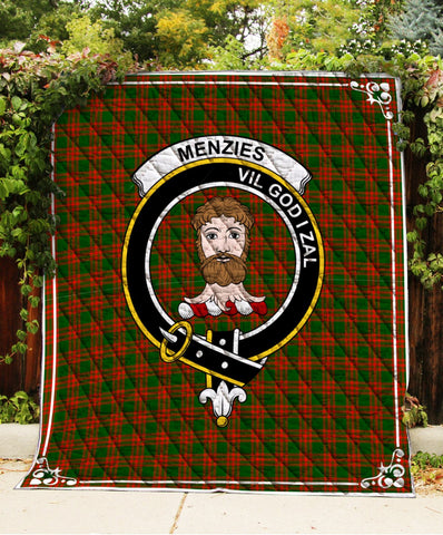 Image of Menzies Clan Badge Tartan Blanket