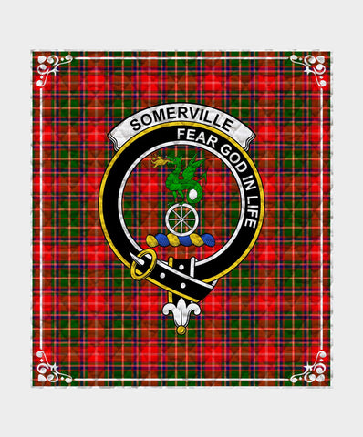 Image of Somerville  Clan Badge Tartan Blanket