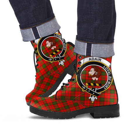 Image of Adair Clan Badge Tartan Leather Boots