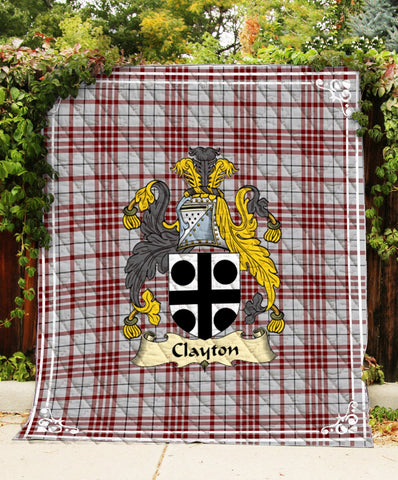 Image of Clayton Clan Badge Tartan Blanket