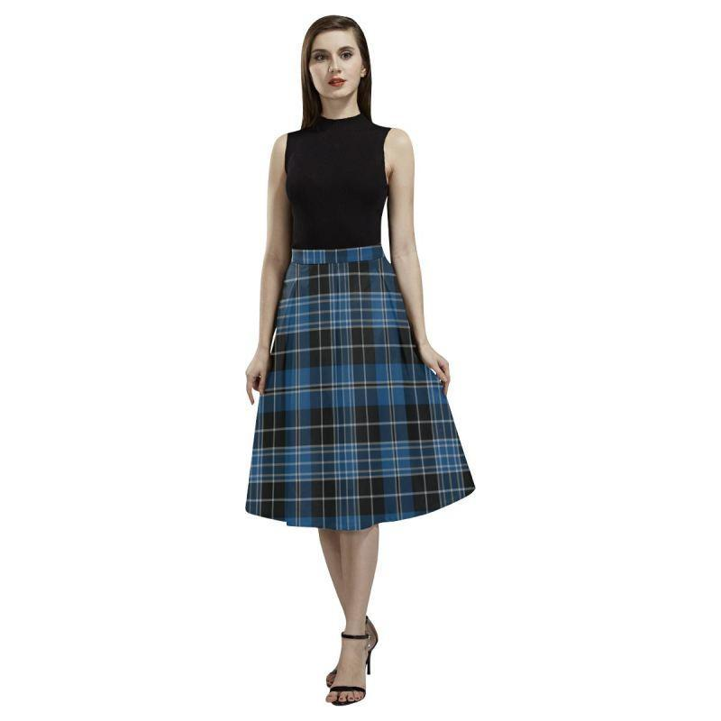 Clergy Blue Tartan Aoede Crepe Skirt