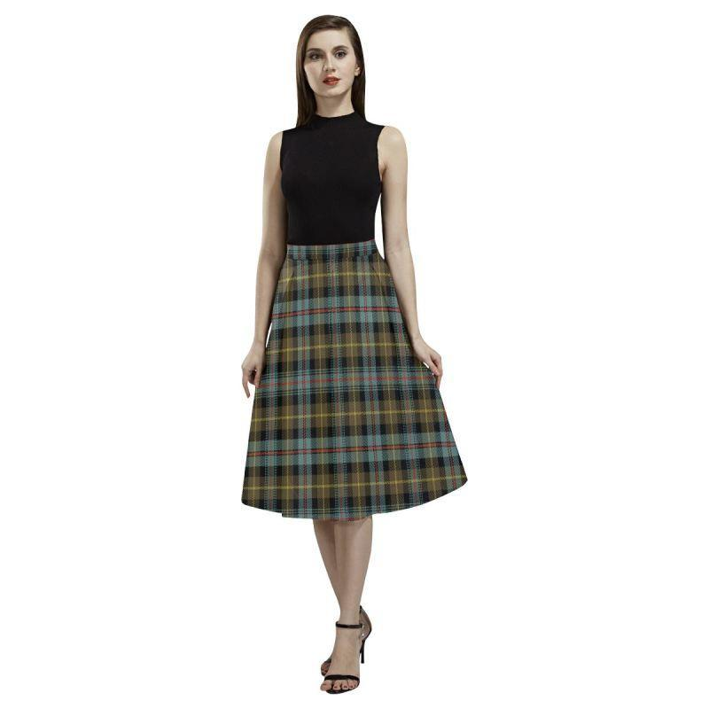 Farquharson Weathered Tartan Aoede Crepe Skirt