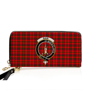 Bain Clan Badge Tartan Zipper Wallet
