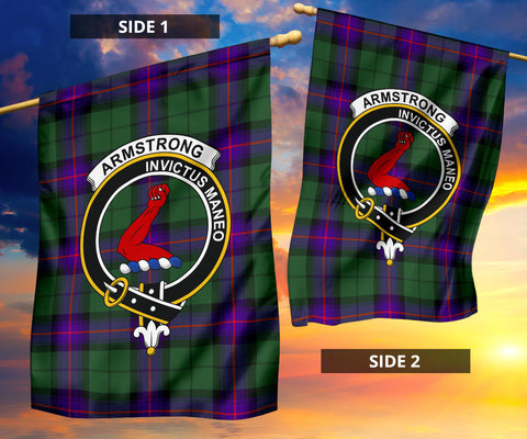 Image of Armstrong Clan Badge Tartan Garden Flag H01