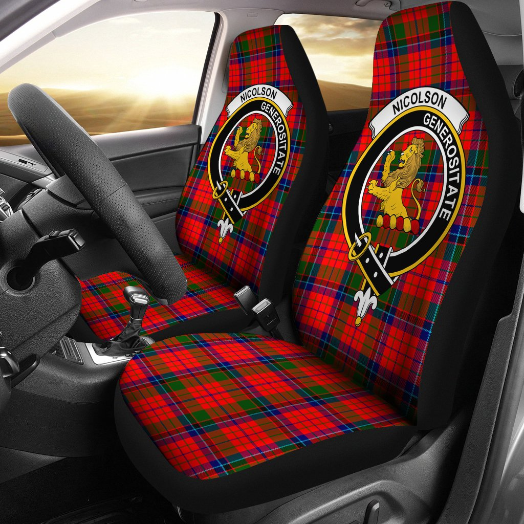 Nicolson Clan Badge Tartan Car Seat Cover