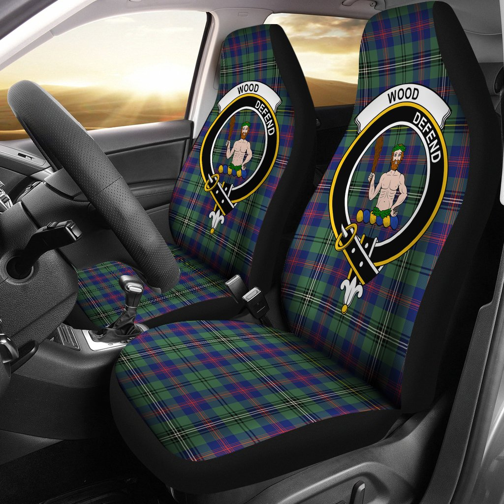 Wood Clan Badge Tartan Car Seat Cover