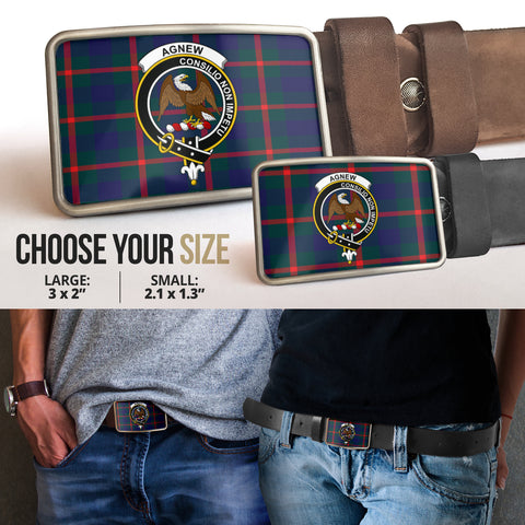 Image of Agnew Modern Clan Badge Tartan Belt Buckle H01