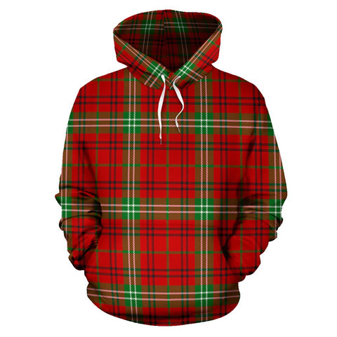 Image of Morrison Red Modern Tartan All Over Print Hoodie