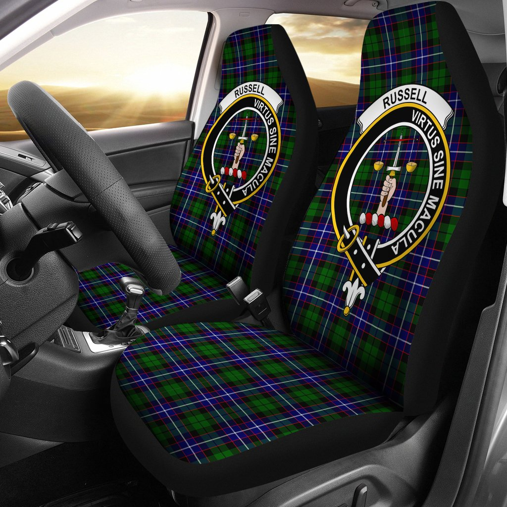 Russell Clan Badge Tartan Car Seat Cover