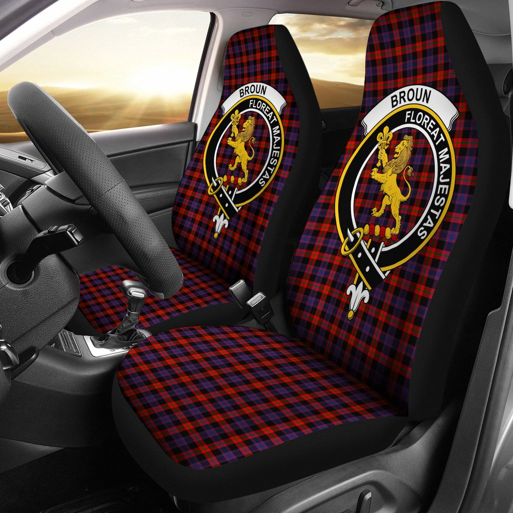 Broun Clan Badge Tartan Car Seat Cover