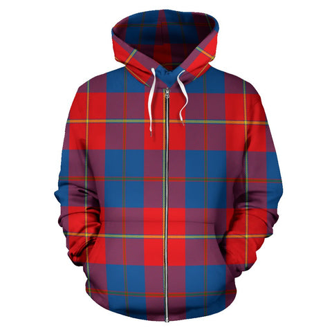 Image of Galloway Red Tartan All Over Zip Hoodie