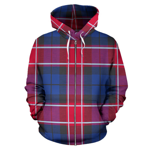 Image of Graham of Menteith Red Tartan All Over Zip Hoodie