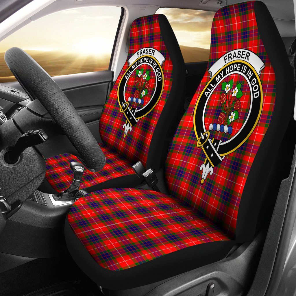 Fraser Clan Badge Tartan Car Seat Cover