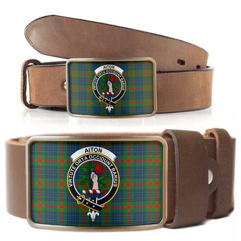 Aiton Clan Badge Tartan Belt Buckle H01