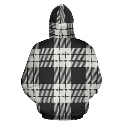Image of MacFarlane Black White Ancient Tartan All Over Zip Hoodie