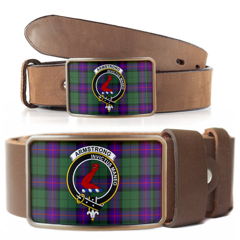 Image of Armstrong Modern Clan Badge Tartan Belt Buckle H01
