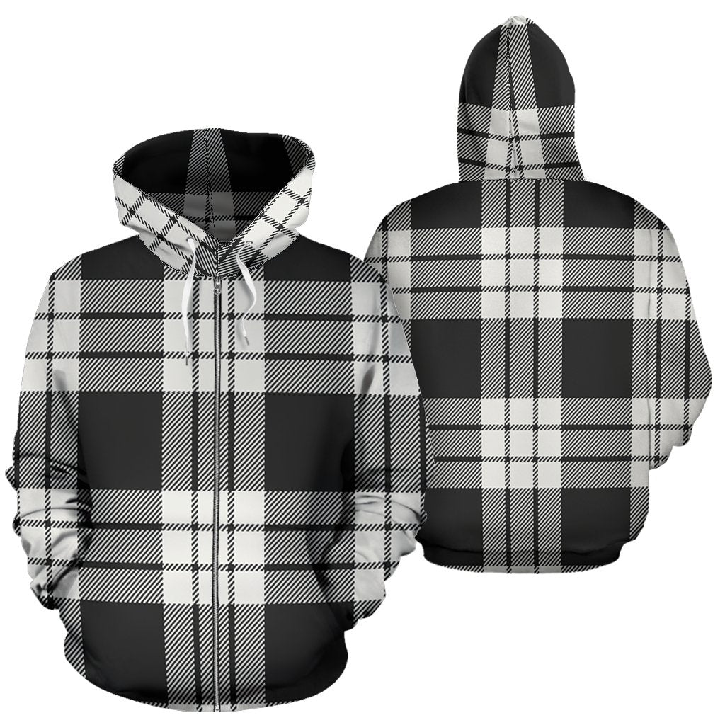 MacFarlane Black White Ancient Tartan All Over Zip Hoodie