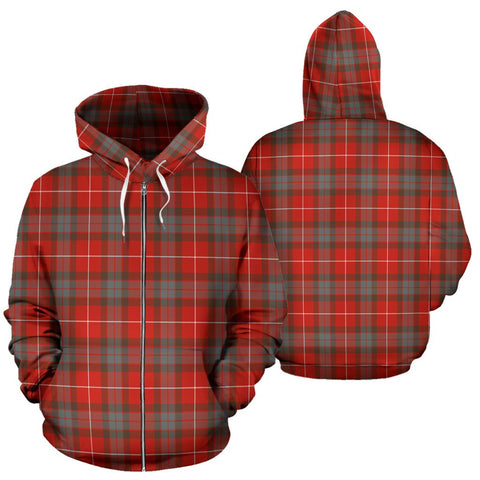 Image of Fraser Weathered Tartan All Over Zip Hoodie