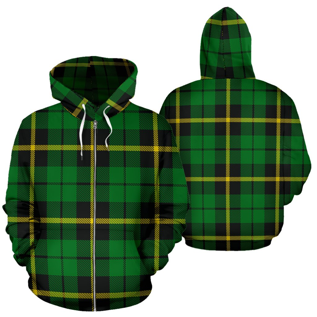 Wallace Hunting - Green Tartan All Over Zip Hoodie
