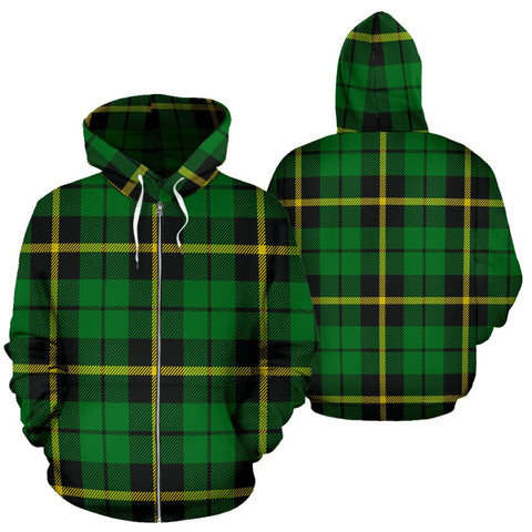 Image of Wallace Hunting - Green Tartan All Over Zip Hoodie