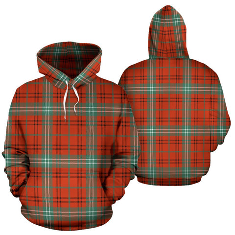 Image of Morrison Red Ancient Tartan All Over Print Hoodie