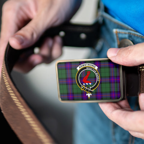 Armstrong Modern Clan Badge Tartan Belt Buckle H01