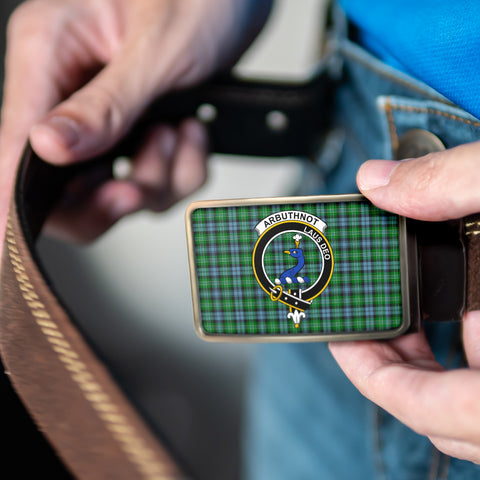 Image of Arbuthnott Clan Badge Tartan Belt Buckle H01
