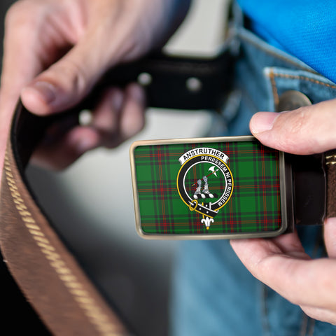 Image of Anstruther Clan Badge Tartan Belt Buckle H01