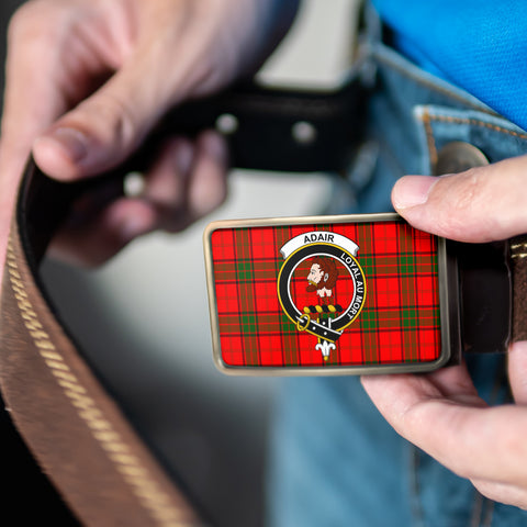 Image of Adair Clan Badge Tartan Belt Buckle H01