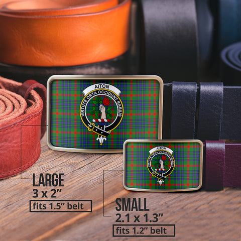 Image of Aiton Clan Badge Tartan Belt Buckle H01