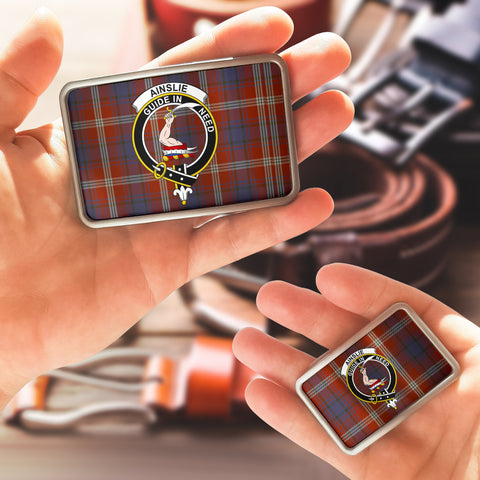 Image of Ainslie Clan Badge Tartan Belt Buckle H01