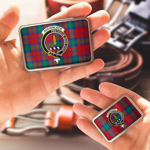 Auchinleck Clan Badge Tartan Belt Buckle H01