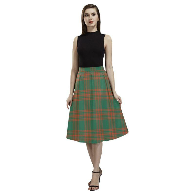 Menzies Green Ancient Tartan Aoede Crepe Skirt