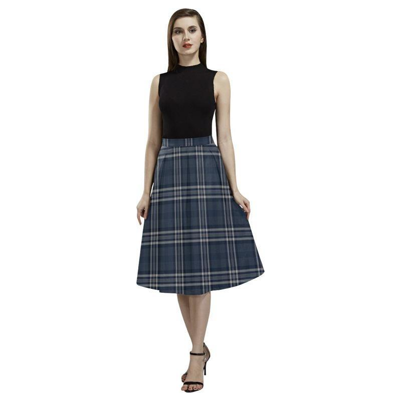 Navy Formal Dress Tartan Aoede Crepe Skirt
