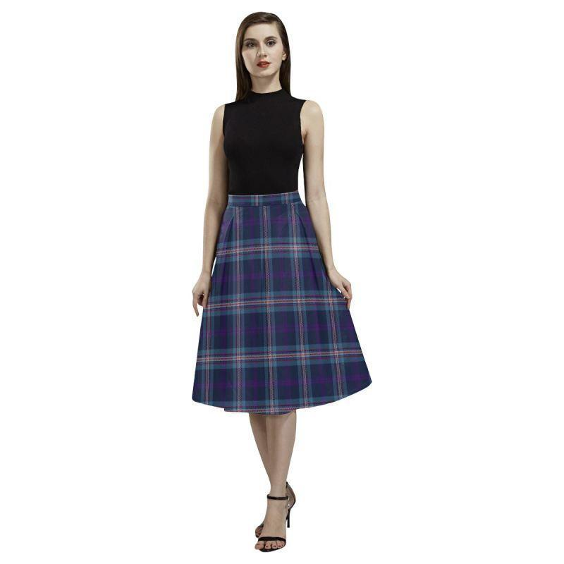 Navy Royal Tartan Aoede Crepe Skirt