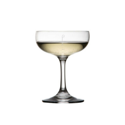 Saucer Coupe Champagne Cocktail Crystal Glass, Pour Lines - Set of 6