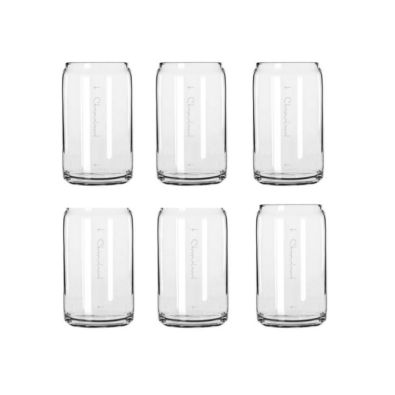 Beer Soda Can Style Cocktail Crystal Glass With Pour Lines Set of 6