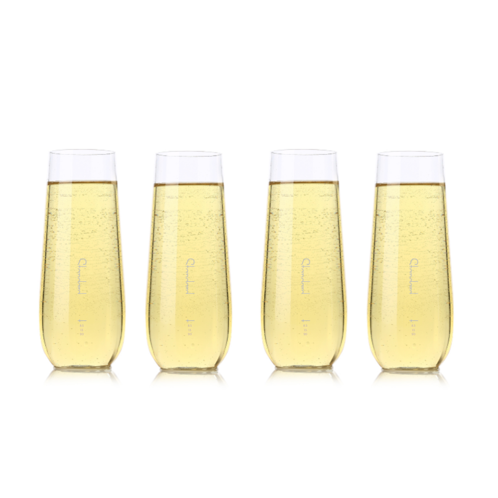 Shatterproof Fancy Flute Glass With Pour Lines - Set of 4